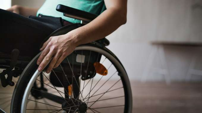 Disabled person on wheelchair