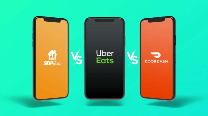 3 smartphones displaying 3 different food delivery apps